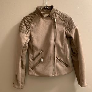 NWOT H&M Fitted Faux Suede motto jacket